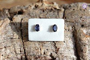 Brinco de Safira Azul (Prata 950) | Cristal de Ativação Psíquica e Percepção Extrassensorial