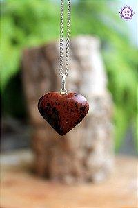 Pingente Coração Obsidiana Mahogany (Prata 950) | Pedra de Limpeza do Corpo Emocional e DNA