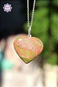 Pingente Coração Jaspe Unakita (Prata 950) 8g | Pedra de Libertação de Maus Hábitos