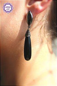 Brinco Gota Obsidiana Negra (Banho Ouro Velho) 11g | Pedra de Proteção Psíquica!