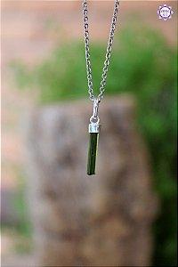 Pingente Turmalina Verde (Prata 950) | Pedra de Autocura e Ativação do Chakra do Coração