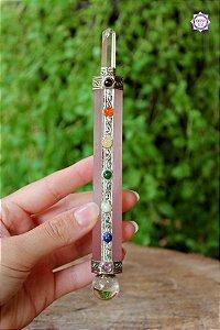 Bastão Atlante de Quartzo Rosa e Quartzo de 16cm e 92g | Cristal do Amor, Cura Emocional e Limpeza