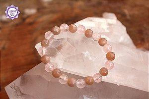 Pulseira de Quartzo Rosa e Pedra da Lua Natural para Autodescoberta e Cura Emocional!