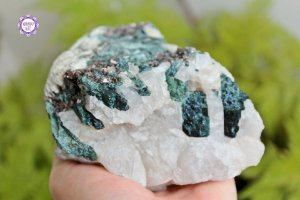 Quartzo com Turmalina Verde 1.049g | Pedra de Autocura e Ativação do Chacra do Coração!