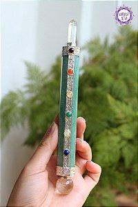 Bastão Atlante de Cristal e Quartzo Verde 115g | Cristal de Limpeza e Cura Emocional