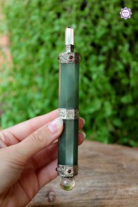 Bastão Atlante de Cristal e Quartzo Verde de 15,5cm e 96g |Cristal de Limpeza e Cura Emocional