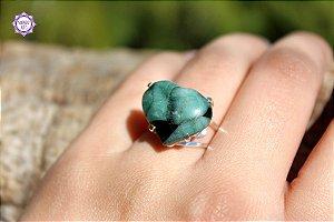 Anel Coração de Esmeralda em Prata 950 (Ajustável ao dedo) para Cura e Prosperidade
