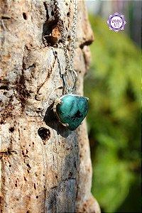 Pingente Coração de Esmeralda (Prata 950) 3g | Pedra do Amor Divino, Cura e Prosperidade!
