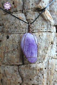 Pingente de Ametista com Cordão Preto Regulável (Fio Cobreado) | Cristal de Proteção, Transmutação e Comunicação Divina!