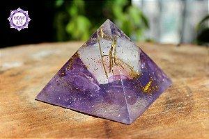 Orgonite Pirâmide Ametista e Turmalina Rosa   Transmutação e Cura Emocional