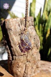 Castroado Ponta de Ametista com Cordão Ajustável | Cristal de Proteção, Transmutação