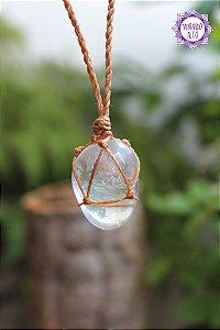 Castroado de Cristal com Cordão Claro Ajustável   Cristal de Limpeza, Purificação e Cura