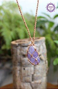Castroado de Ametista com Cordão Claro Ajustável | Cristal de Proteção e Transmutação