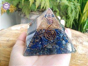 Orgonite Pirâmide Lápis-Lazúli e Quartzo | Viagens Meditativas e Projeção Astral