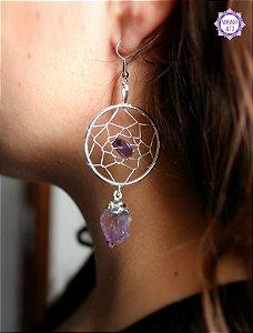 Brinco Filtro dos Sonhos de Ametista | Cristal de Proteção, Transmutação e Comunicação Divina
