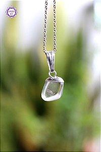 Mini Pingente de Quartzo (Pino Prateado) | Cristal de Limpeza, Purificação e Cura