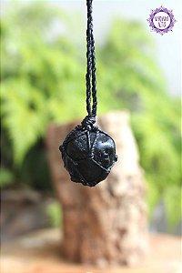 Castroado de Turmalina Negra com Cordão Ajustável | Pedra de Proteção e Purificação