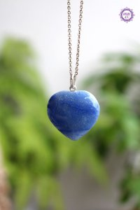 Pingente Coração Quartzo Azul (Prata 950) | Sintonia Psíquica, Autodisciplina, Força Interior