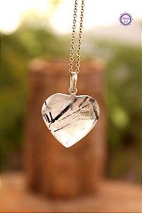 Pingente Coração Quartzo Turmalinado (Prata 950) | Para Purificação Física, Emocional e Espiritual