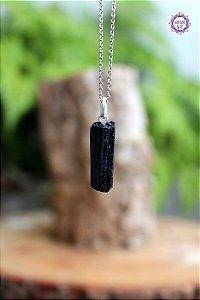Pingente Canudo Turmalina Negra (Prata 950) | Pedra de Proteção e Purificação