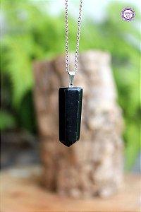 Pingente Ponta Obsidiana Negra (Pino Prateado) | Pedra para Proteção Psíquica e Energética