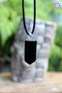 Ponta Obsidiana Negra Grande com Cordão (Pino Prateado) | Pedra para Proteção Psíquica e Energética