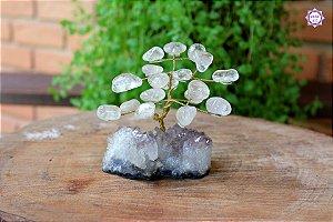 Árvore de Quartzo com 10cm base Drusa de Ametista 301g | Cristal de Cura e Limpeza Emocional
