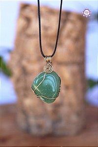 Colar Quartzo Verde com Cordão Ajustável (Arame prateado) | Cristal de Cura e Manifestação