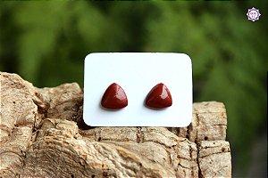 Brinco de Jaspe Vermelho (Prata 950)   Pedra da Memória e Energia Kundalini
