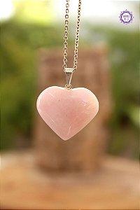 Pingente Coração Quartzo Rosa (Pino Prateado) | Cristal do Amor e Cura Emocional