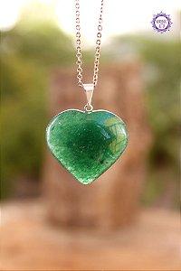 Pingente Coração Quartzo Verde (Pino Prateado) | Cristal de Cura e Manifestação