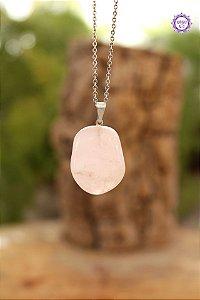 Pingente Pedrinha Quartzo Rosa (Pino Prateado) | Pedra do Amor e Cura Emocional