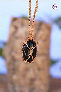 Castroado de Ônix com Cordão Bege Ajustável | Pedra do Foco, Força Interior e Disciplina