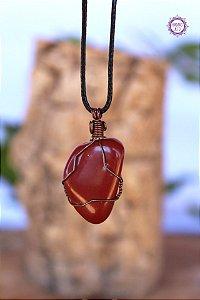 Colar Jaspe Vermelha com Cordão Ajustável (Arame Cobreado) | Pedra da Memória e Energia Kundalini