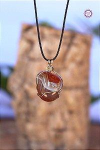 Colar Ágata de Fogo com Cordão Ajustável (Arame prateado) | Pedra da Criatividade e Vitalidade