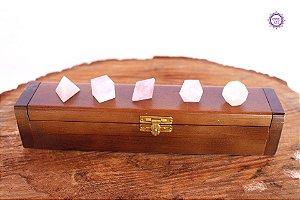 Kit Sólidos Platônicos de Quartzo Rosa | Cristal do Amor Divino e Cura Emocional