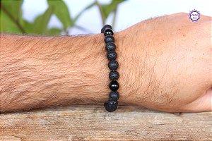 Pulseira Masculina para Proteção | Turmalina Negra e Pedra Vulcânica