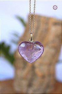 Pingente Coração de Ametista (Prata 950) | Cristal de Proteção, Transmutação e Comunicação Divina