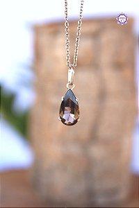 Pingente Gota de Quartzo Fumê (Prata 950) | Cristal para Proteção do Campo Energético