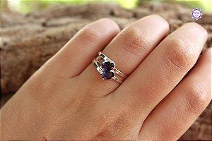 Anel de Safira Azul Facetado em Prata 950 (Ajustável ao dedo) para Ativação Psíquica e Percepção Extrassensorial
