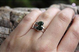 Anel de Turmalina Verde Facetado em Prata 950 (Ajustável ao dedo) para Autocura e Ativação do Chakra do Coração