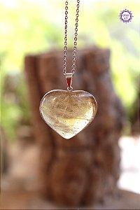 Pingente Coração Citrino Natural (Pino Prateado) | Cristal da Manifestação, Prosperidade e Criatividade