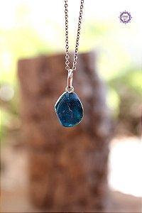 Pingente Pedrinha Apatita Azul (Prata 950) | Pedra para Projeção Astral e Sonho Lúcido