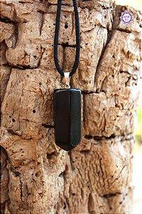 Pingente Ponta de Obsidiana Negra com Cordão (Pino Prateado) | Pedra para Proteção Psíquica e Energética