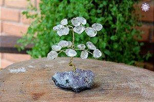 Árvore de Quartzo P com 11cm base Drusa de Ametista 201g | Cristal de Cura e Limpeza Emocional