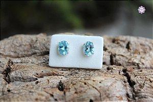 Brinco Oval de Topázio Azul Natural (Prata 950) | Cristal da Comunicação Clara e Intuitiva
