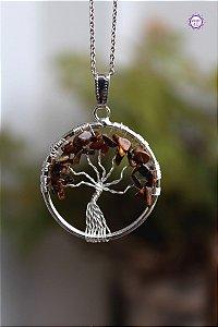 Pingente Árvore da Felicidade de Olho de Tigre | Cristal do Discernimento, Vitalidade e Força