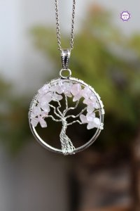 Pingente Árvore da Felicidade de Quartzo Rosa | Pedra do Amor e Cura Emocional