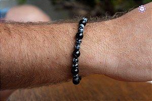 Pulseira Masculina de Obsidiana Floco de Neve e Turmalina Negra para Proteção e Comunicação Espiritual
