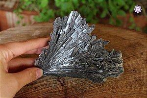 Cianita Negra Especial (Vassoura de Bruxa) 266g com 12cm | Pedra para Cura Energética e Proteção